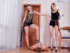 Pathetic sub worships and gets trampled by two pairs of mouthwatering feet
