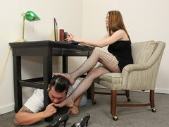 Always nice to have a foot slave under your work desk