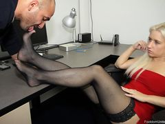 Sammi Spades need a foot slave to pamper her tired stockings feet in the office